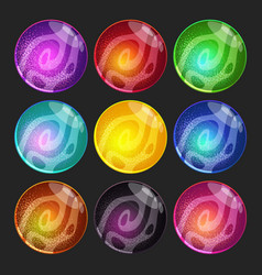 set with fantasy planets colorful glossy vector image