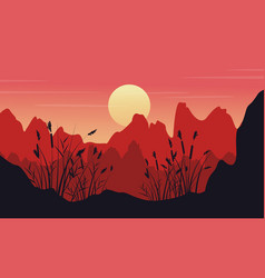 Silhouette of cliff with coarse grass landscape vector