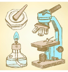 Sketch microscope in vintage style vector