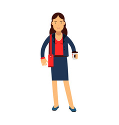Smiling businesswoman cartoon character in a blue vector