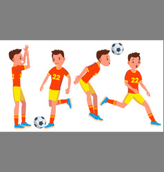 Soccer male player playing in different vector