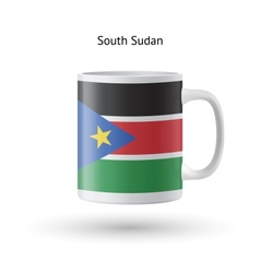 South Sudan flag souvenir mug on white background vector
