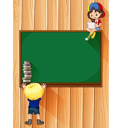 Students with books and blackboard vector image