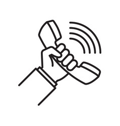 telephone receiver in hand linear icon vector image