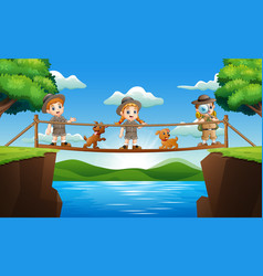 Three zookeeper standing on a wooden bridge vector