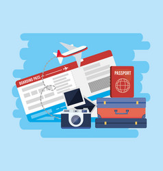 travel baggage with passport and camera with vector image