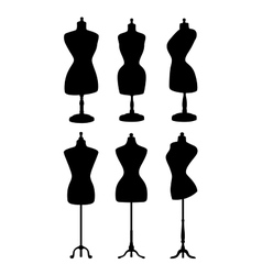 Vintage mannequins silhouettes vector