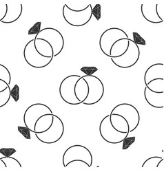 wedding rings seamless pattern on white background vector image