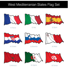 west mediterranean states waving flag set vector image