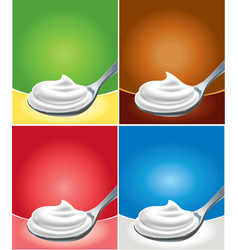 Whipped cream on spoon with different background vector