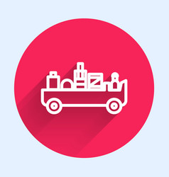 White line airport luggage towing truck icon vector