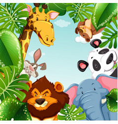 wild animals and leaves around the border vector image