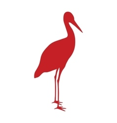 Wild stork bird animal flat silhouette vector