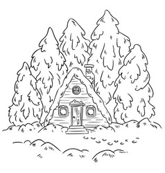 winter cabin log scene for coloring hand vector image