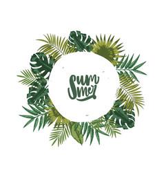 Wreath or circular garland made of palm tree vector