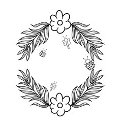 wreath with flowers and leafs vector image