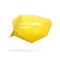 yellow polygonal speech bubble or balloon vector image