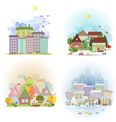 collection cute cards with sunny cityscape in vector image vector image
