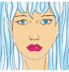 Drawing female face vector image vector image