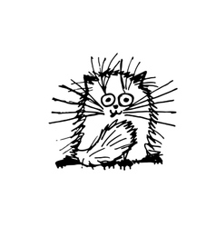Funny fluffy cat sketch for your design vector image