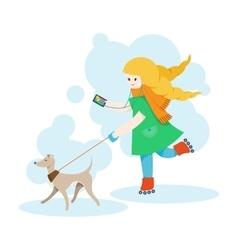 Girl walking an Italian Greyhound and listen music vector image