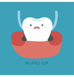 Inflamed gum of dental vector