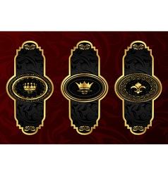 set gold vintage labels with design elements - vector image vector image