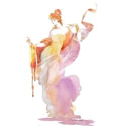 Watercolor female portrait vector image