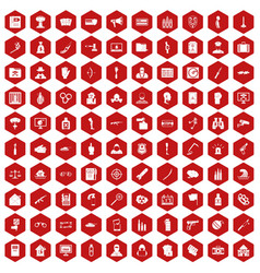 100 violation icons hexagon red vector image vector image