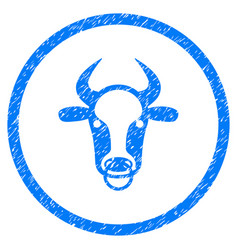 Bull ring rounded grainy icon vector