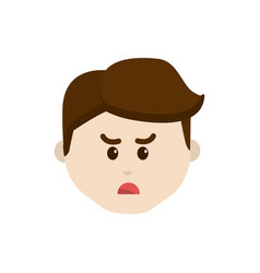Cartoon man face angry expression vector