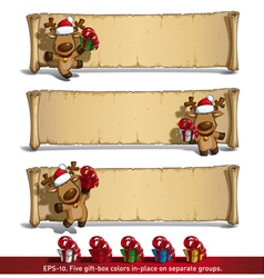 Christmas Elks Papyrus Gifts White Background vector image vector image