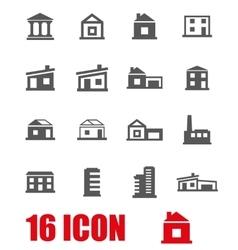grey buildings icon set vector image