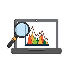 laptop schedule information graph diagram viewed vector image vector image