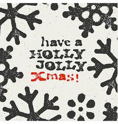 Merry Christmas Grunge Postcard Design On white vector image vector image