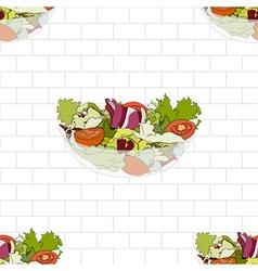 Salad Bowl on White Brick Wall vector image