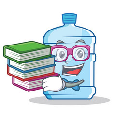 student with book gallon character cartoon style vector image