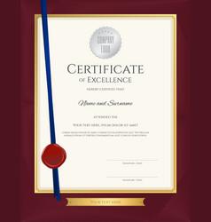 elegant portrait certificate template excellence vector image vector image