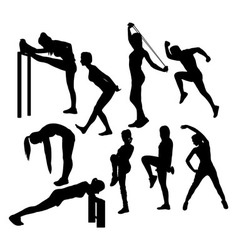 Stretching Sport Silhouettes vector image vector image