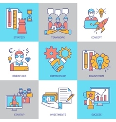 Teamwork Linear Colored Icons vector image vector image