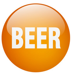 Beer orange round gel isolated push button vector