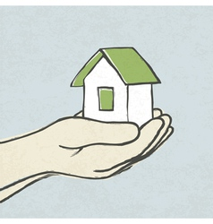 green house in hands concept vector image