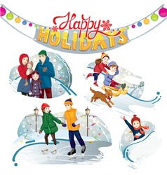 happy holidays set vector image vector image