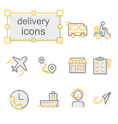 thin line icons set delivery vector image