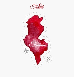 Travel around the worldTunisia Watercolor map vector image