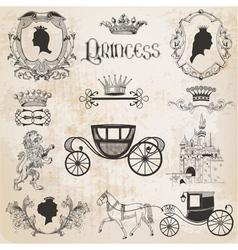Vintage Princess Girl Set vector image