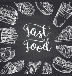 with white fast food contour vector image vector image