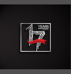 17 years anniversary logotype with square silver vector