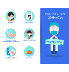 2019-ncov covid-19 virus prevention infographics vector image