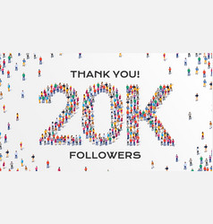 20k followers group business people vector